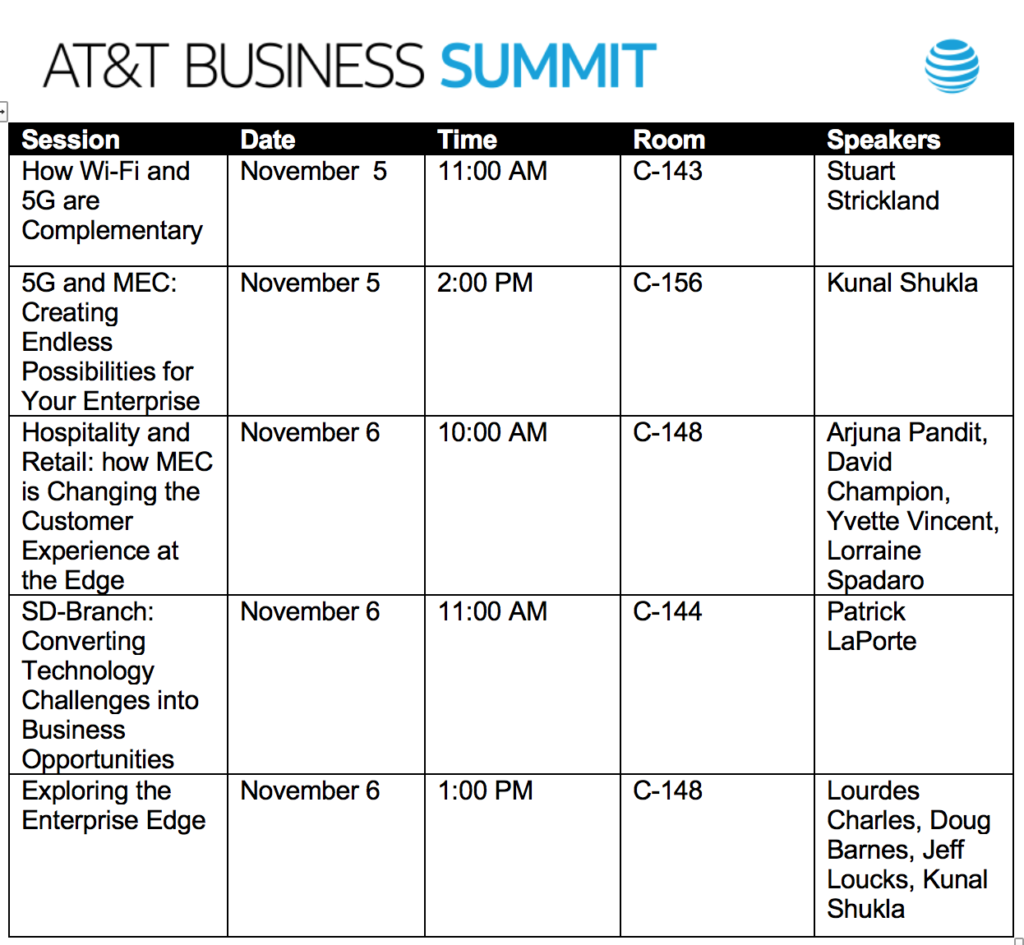 Aruba sessions at AT&T Business Summit