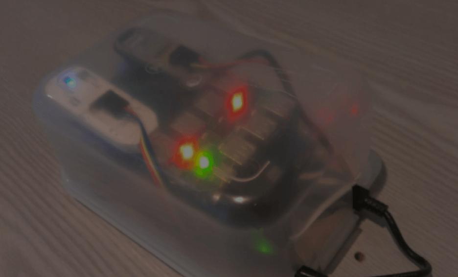 The original Cape Sensor concept: a Raspberry Pi inside a Tupperware container.