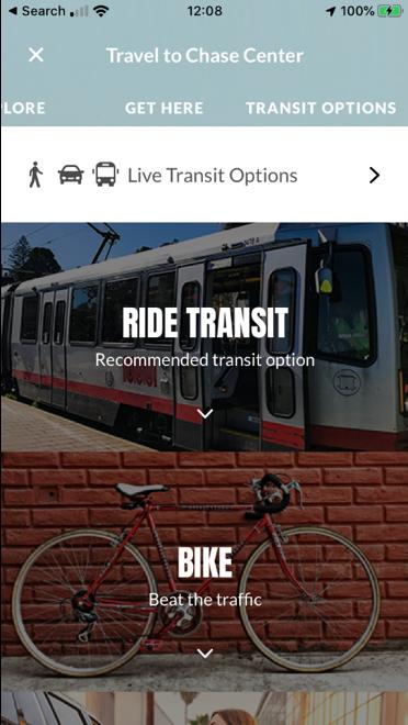 Chase Center mobile app transit options