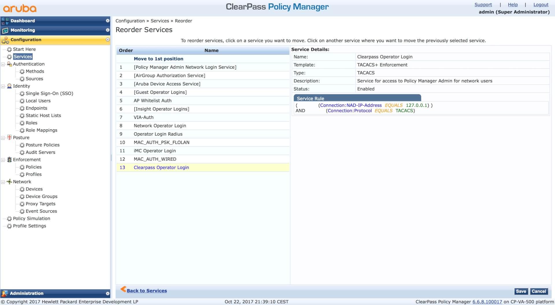 Clearpass Operator Login - Reorder Services List