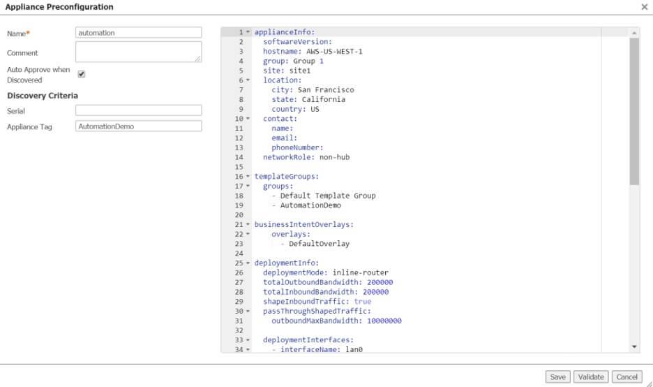 Figure 5: Pre-configuration file