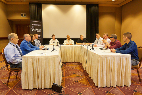 Jennifer Huber at the Tech Field Day Roundtable at Aruba Airheads 2012.