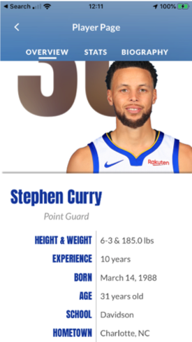 Chase Center mobile app Steph Curry player stats