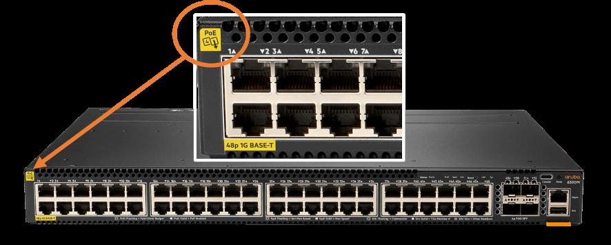 Aruba CX 6300 Switch with EA PoE Certified Class 4 PSE Logo